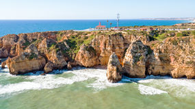 Aerial from Ponte Piedade with the Lighthouse Lagos Portugal Stock Image
