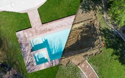 Aerial of Before and After Pool Build Construction Site. Aerial View of Before and After Pool Build Construction Site stock image