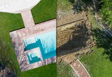Aerial of Before and After Pool Build Construction Site. In a Back yard stock images