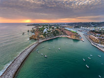 Aerial. Port harbor of the marina Albufeira view from the air. Portugal Stock Image