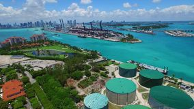 Aerial Port Miami and Fisher Island stock video