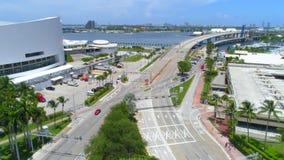 Aerial Port Miami reveal Miami stock footage