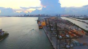 Aerial Port Miami stock video footage