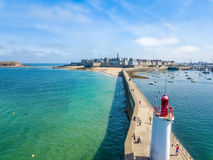 Aerial postcard of Saint Malo in Brittany France with a Lighthouse in the foreground Stock Photo