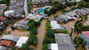 Free Aerial POV View Depiction Of Flooding. Devastation Wrought After Massive Natural Disasters At Bekasi - Indonesia Royalty Free Stock Photo - 173818065