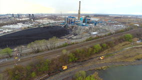 Aerial power plant stock footage