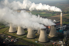Aerial of Power Station. Aerial of cooling towers of the Cotham power station Stock Image