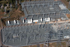 Aerial Power Sub Station Royalty Free Stock Photography