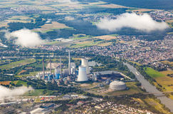 Aerial of powerstation in Grosskrotzenburg, Main river Royalty Free Stock Images
