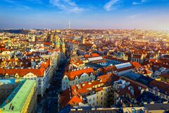 Aerial Prague panoramic drone view of the city of Prague at the Old Town Square, Czechia. Prague Old Town historical center of