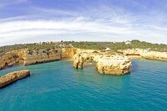 Aerial from Praia Albandeira in the Algarve Portugal Royalty Free Stock Images