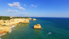 Aerial from Praia da Marinha in Portugal stock video