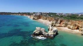 Aerial from Praia da Rocha in Portugal stock footage
