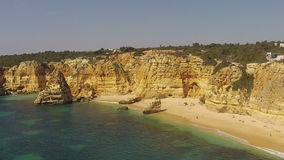 Aerial from Praia Marinha in Portugal stock video