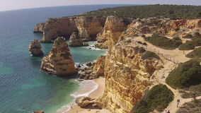 Aerial from Praia Marinha in Portugal stock video footage