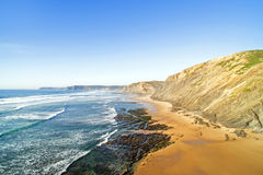 Aerial from Praia Vale Figueiras at the westcoast Portugal Stock Photo