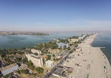 Mamaia on the Black Sea Coast , Romania. Aerial presentation of the main strip of Mamaia holiday resort area, a top travel destination in summer , on the Black royalty free stock image