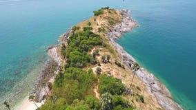 Aerial Promthep Cape Viewpoint Cliff. HD birds eye slowmotion shot. Phuket Island, Thailand. stock video footage