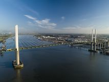 Aerial of QEII Bridge looking west stock image