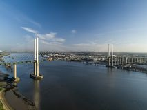 Aerial of QEII Bridge looking west royalty free stock photos