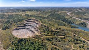 Aerial. Quarries, mines near the reservoir Odeleite. Portugal Stock Photo