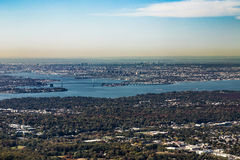 Aerial of Queens with throgs net bridge and east river. In New York Stock Photo