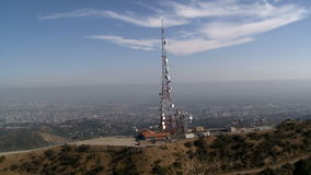 Aerial of Radio / Telecommunications Tower stock footage