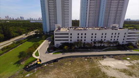 Aerial real estate building Biscayne landing. Aerial video of modern buildings in Miami stock footage