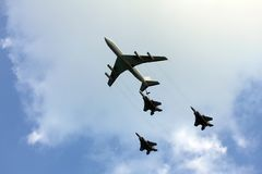 Aerial refueling Stock Images