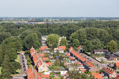 Aerial residential area of Emmeloord, The Netherlands. Aerial view family houses in residential area of Emmeloord, The Netherlands stock photo