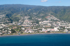 Aerial Reunion island. Aerial view of Saint Denis capital of Reunion island stock photos