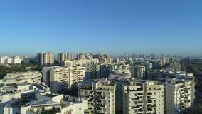 Aerial revealing shot of residential neighborhood. Evening. stock video footage