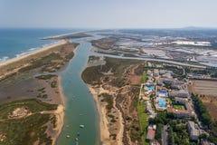 Aerial. Ria Formosa Tavira village Cabanas. Royalty Free Stock Photography