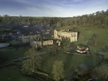 Aerial of Rievaulx Abbey from the south west stock photography