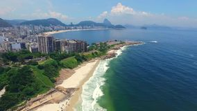 Aerial: Rio de Janeiro and the Atlantic Ocean. Shevelev. Aerial: Rio de Janeiro and the Atlantic Ocean. The beauty of nature and the beach of Brazil. The city stock video footage