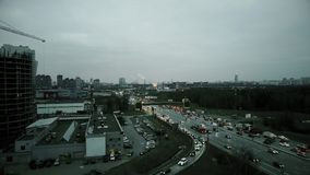 Aerial rising shot of big city highway intersection in the evening rush hour. Moscow, Russia royalty free stock images