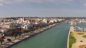 Aerial from the river and city Lagos Portugal stock video