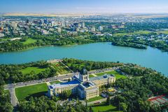 Aerial of Manitoba Legislative Building, Winnipeg, Manitoba, Canada. Aerial of  the river and city of Winnipeg including the Manitoba Legislative Building Stock Images