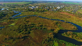 Aerial river landscape. River in forest. View from above. Aerial landscape river stock footage
