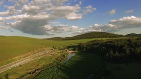 Aerial of River Valley on Zlatibor Mountain Serbia stock video