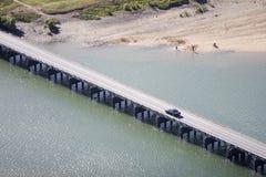 Aerial of road bridge stock photo