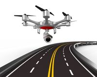 Aerial of road on white background. Isolated 3D illustration Royalty Free Stock Photo