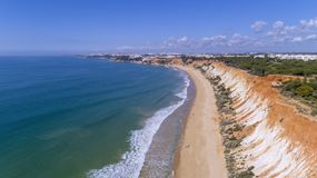 Aerial rocks and cliffs seascape shore view of famous Falesia beach, Algarve. Portugal Stock Photography