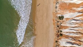 Aerial rocks and cliffs seascape shore view of famous Falesia beach, Algarve. Portugal Stock Photo