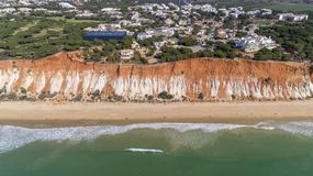 Aerial rocks and cliffs seascape shore view of famous Falesia beach, Algarve. Portugal Royalty Free Stock Image