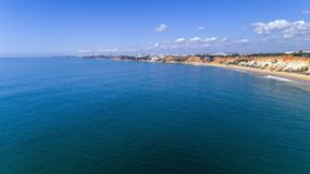 Aerial rocks and cliffs seascape shore view of famous Falesia beach, Algarve. Portugal Royalty Free Stock Photo