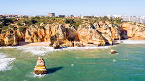 Aerial from rocks and ocean near Lagos in Portugal Royalty Free Stock Image