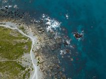 Aerial, Rocky Coastline Patterns Top Down View royalty free stock photography