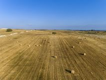 Aerial rolled hay farmland fields countryside landscape in Alentejo, Portugal. Aerial rolled hay farmland fields countryside landscape in Alentejo, tourism royalty free stock photo
