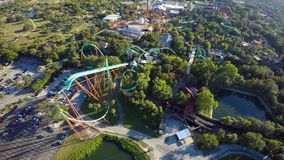 Aerial Roller Coaster stock footage